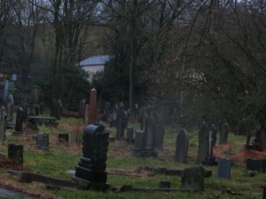 The graveyard in rain